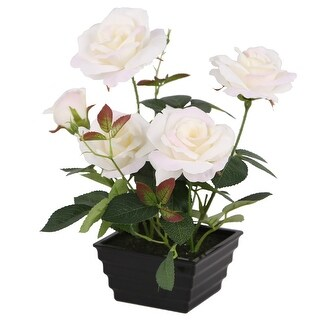 "11"" Black Potted Artificial White Rose Flowers - N/A"