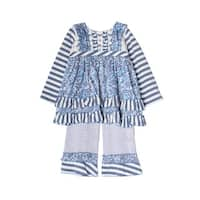 Isobella & Chloe Little Girls Bonnie Blue Striped Ruffle Flower 2 Pcs Outfit
