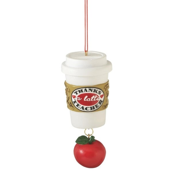 "4"" Single Serve ""Thanks a Latte Teacher"" Coffee Cup with Hanging Apple Christmas Ornament"