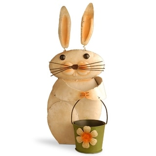 """23"""" Metal Rabbit with Flower Pot - N/A"""