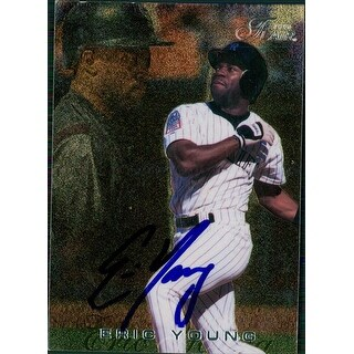 Signed Young Eric Colorado Rockies 1996 Fleer Baseball Card autographed