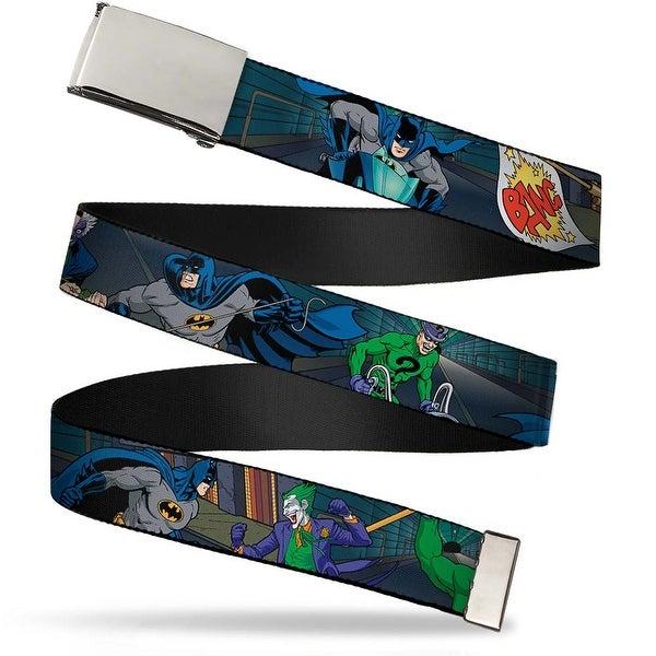 Blank Chrome Buckle Batman Battling Villains In Tunnel Webbing Web Belt