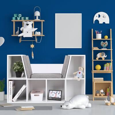 Veikous 6-Cubby Kids Reading Nook and Storage Bookcases