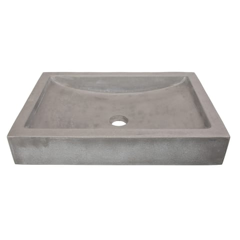 Eden Bath Shallow Wave Concrete Rectangular Vessel Sink - Gray