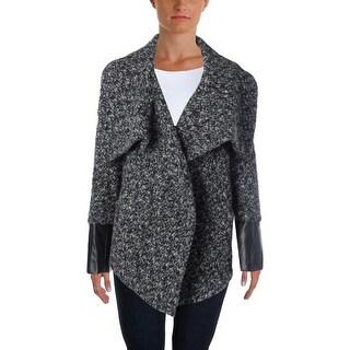 Aqua Womens Wool Faux Leather Trim Coat - M