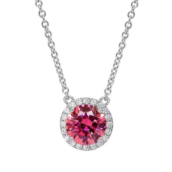 Necklace with Swarovski Zirconia in Sterling Silver - Pink