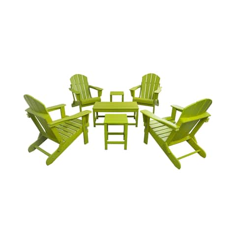 Laguna 7-Piece Adirondack Folding Chairs with Side Tables and Coffee Table Set