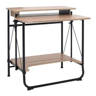 Offex Stow Away Desk, Folding Desk - Black/Driftwood