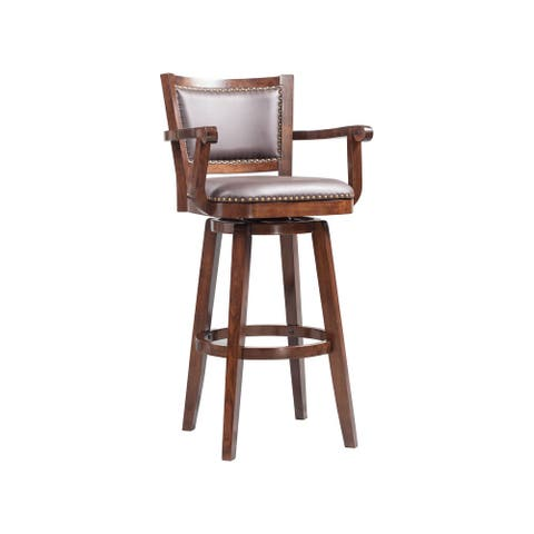 Broadmoor Brown Rubberwood Extra Tall Swivel Bar Stool