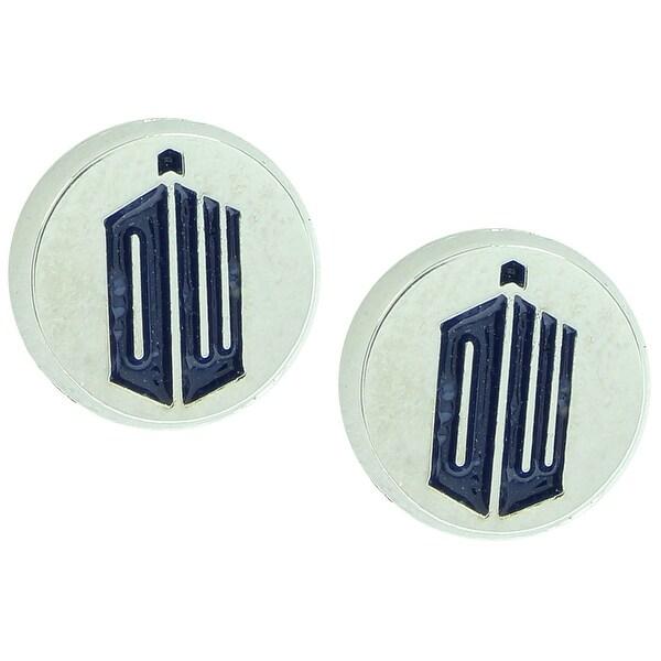 Doctor Who EXCLUSIVE DW Logo Enamel Round Stud Earrings - Silver