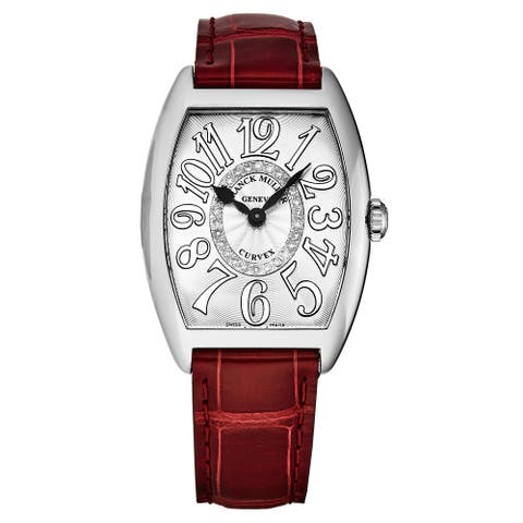 Franck Muller Women's 7502 QZ CD 1R RELIEF AC RD 'Curvex' Silver Diamond Dial Red leather Strap Swiss Quartz Watch