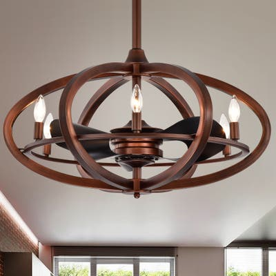 Copper Grove Raton 29-inch 6-light Antique Bronze Lighted Ceiling Fan