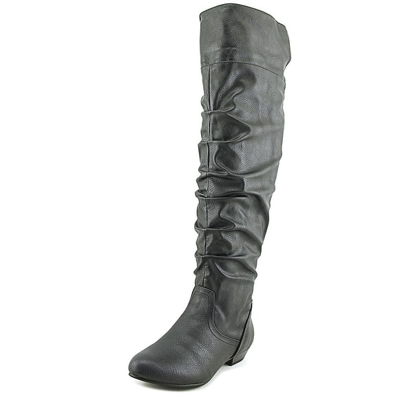 Fergalicious Rookie Women Round Toe Synthetic Black Knee High Boot