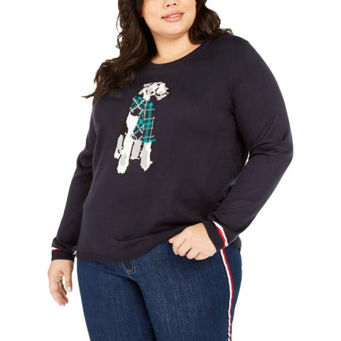Tommy Hilfiger Womens Terrier Crewneck Sweater Graphic Ribbed Trim - Navy
