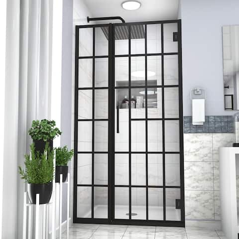 "Kichae Shower Door 34"" W x 72"" H ,40"" W x 72"" H Semi-Frameless Hinged Shower Enclosure, Matte Black"