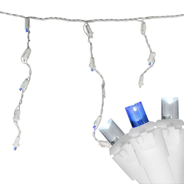 Set of 100 Blue and Pure White LED Wide Angle Icicle Christmas Lights - White Wire