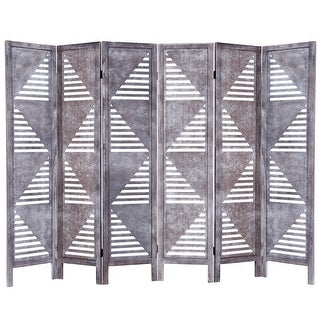 Costway 6 Panel Room Divider Wood Folding Freestanding Partition Privacy Screen Gray