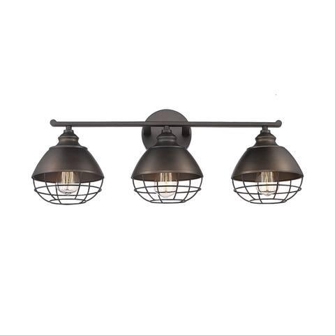 3-light Industrial Bronze Bathroom Light Fixture