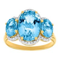 6 ct Natural Swiss Blue Topaz & 1/5 ct Diamond Ring in 14K Gold