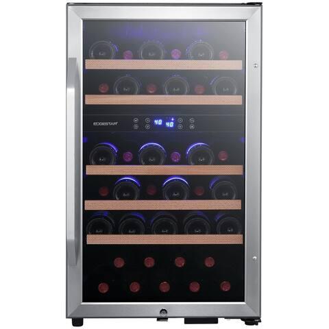 """EdgeStar CWF380DZ 19"""" Wide 38 Bottle Capacity Free Standing Wine Cooler with Dual Zones, LED Lighting and Reversible Door"""