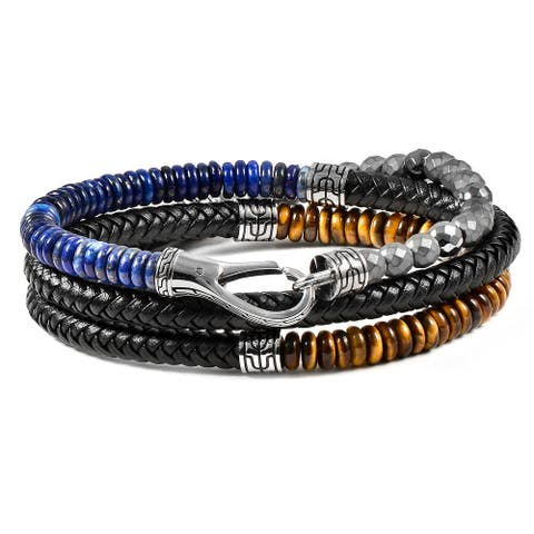 Natural Stone Stainless Steel Clasp Leather Wrap Bracelet