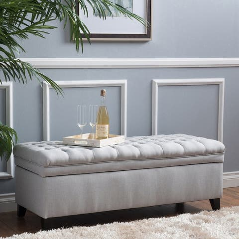 Hastings Tufted Fabric Storage Bench by Christopher Knight Home