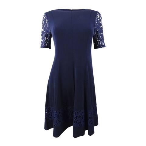 61780762f3b Jessica Howard Women s Petite Fit   Flare Lace-Sleeve Dress - Navy