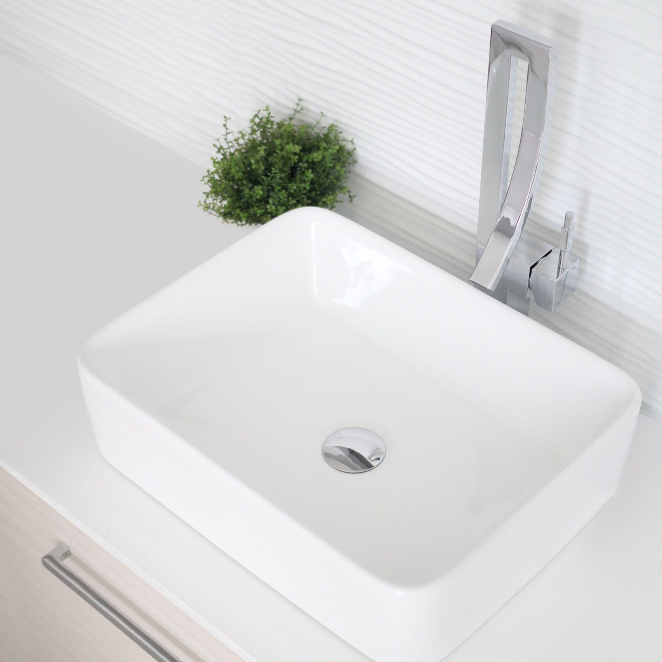 Stylish 18 Inch White Rectangular Ceramic Vessel Bathroom Sink Overstock 29787915