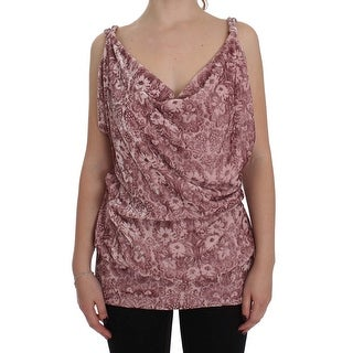 EXTE EXTE Pink Floral Print Viscose Silk Blouse Top - it40-s