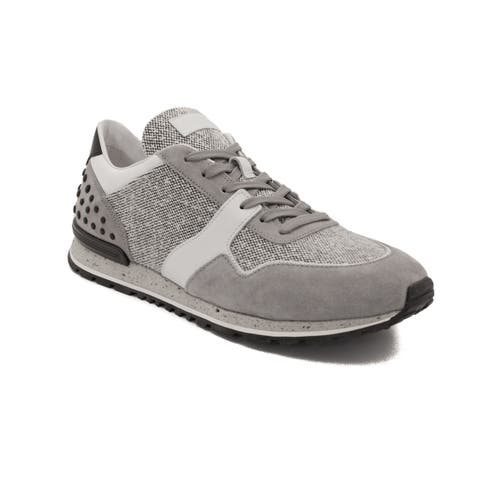 Tod's Men's Leather Fabric Sneaker Shoes Grey