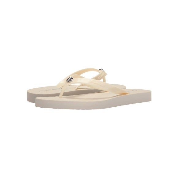 Coach Womens Abbigail Rubber Flip Flop Sandals - Chalk