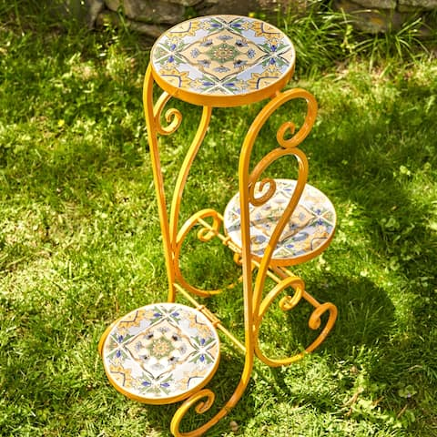 "Set of 2 ""Los Angeles"" Mosaic Plant Stands - Large"