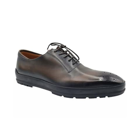 Bally Men's Brown Shaded Redison Leather Lace Up Oxford Dress Shoes (10 EU / 11EEE US) - 10 EU / 11EEE US
