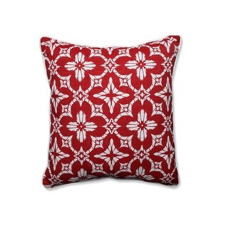 "25"" Bordeaux Red and Cotton White Ikat Printed Decorative Floor Pillow"