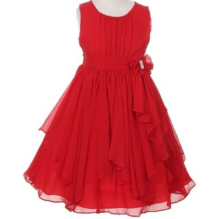 Flower Girl Dress Chiffon with Asymmetric Ruffle Red KK 2040