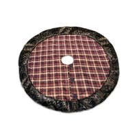 "54"" Red, Green and Brown Plaid and Faux Fur Christmas Tree Skirt - Red"