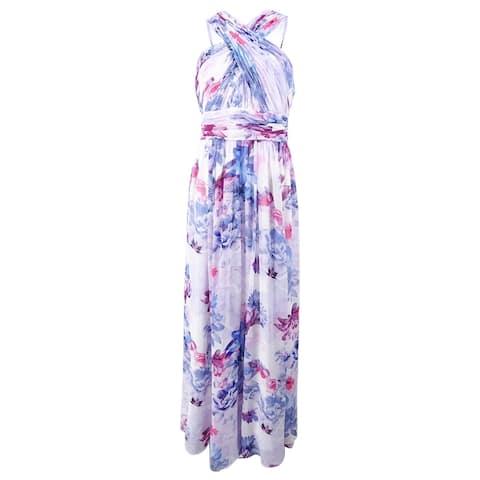 60e93fe6cb97 Calvin Klein Women s Floral Chiffon Crisscross Halter Gown - White Multi