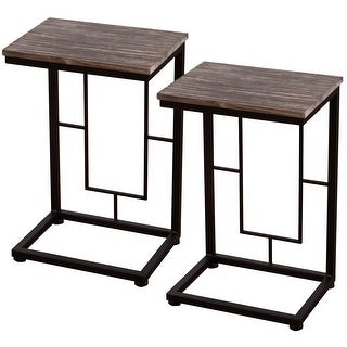 Costway 2PCS 21.7'' Solid Antique  Wood Coffee Tray Side Sofa End Table Ottoman Couch Stand TV Lap - as pic