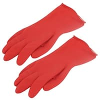Unique Bargains Houseworking Kitchen Latex Dish Clothes Washing Cleaning Gloves Red Pair