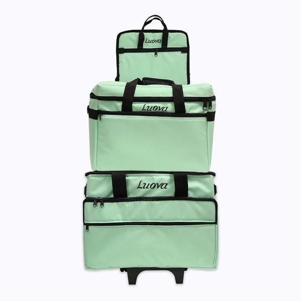 "Luova 19"" 3 Piece Rolling Sewing Machine Trolley Set in Mint Green"