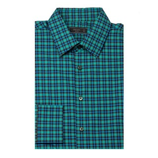 Prada Men's Plaid Cotton Dress Shirt Green - eu 41 / us 16