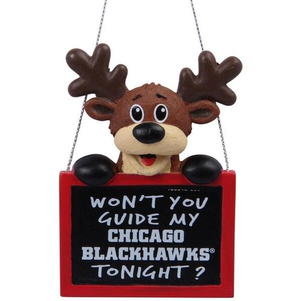 Chicago Blackhawks Reindeer Sign Ornament