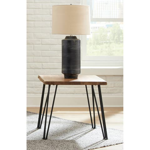 Gano Natural and Matte Black End Table with Hairpin Leg