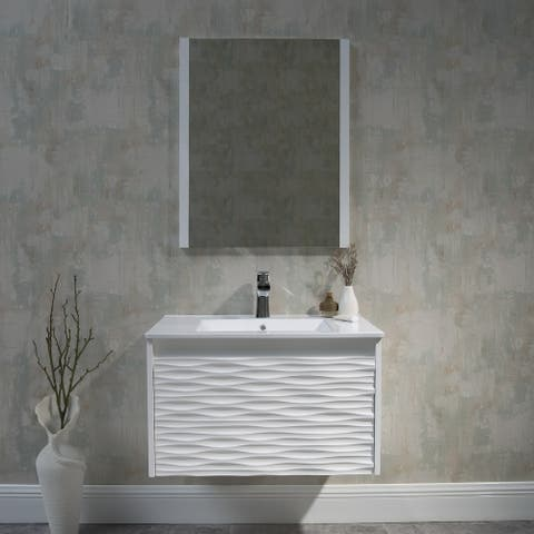 "24"" / 30"" / 36"" /48"" White Floating Vanity / Wall Hung Vanity Set"