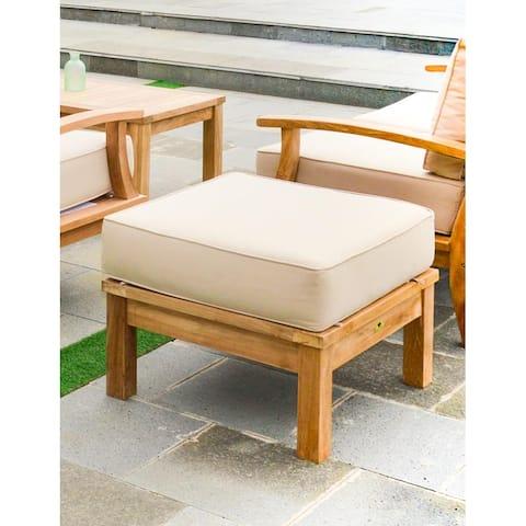 Laurel Tan Teak Outdoor Ottoman with Cushions