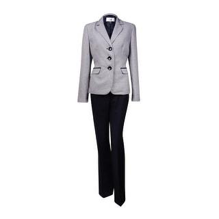Le Suit Women's Monte Carlo Jacquard Pant Suit (12, Navy/White)