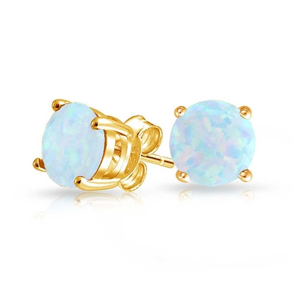 a9f353e76 White Blue Created Opal Round Solitaire Stud Earrings Basket Set 14K Gold  Plated Sterling Silver 6mm