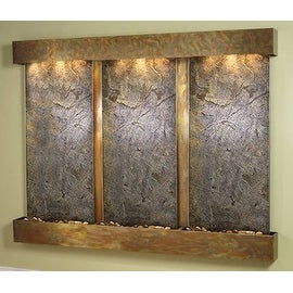Adagio Deep Creek Falls Wall Fountain Green FeatherStone Slate Rustic Copper - D