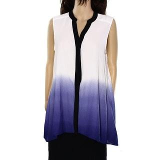 Alfani NEW Purple Ombre Women's Size 4 Sleeveless Button Down Shirt