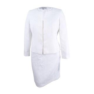 Tahari ASL Women's Embellished Skirt Suit (10, Pearl White)